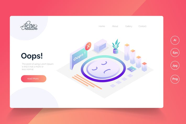 No conection - Isometric Landing Page