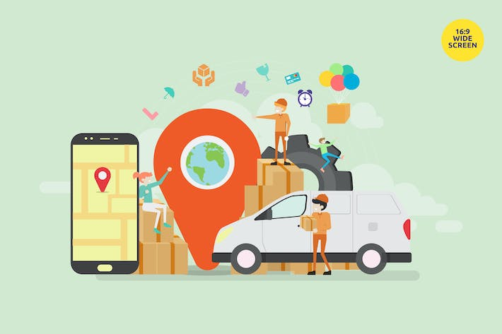 Thumbnail for Online Cargo Delivery Tracking Vector Concept
