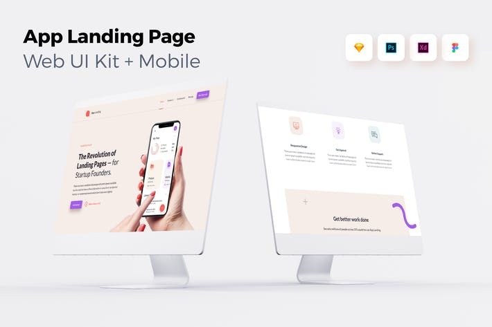 Thumbnail for iOS App Landing Page - Web UI Kit + Mobile - 1
