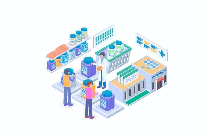 Online Pharmacy Isometric Vector Illustration