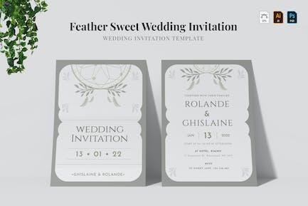 Feather Sweet   Wedding invitation