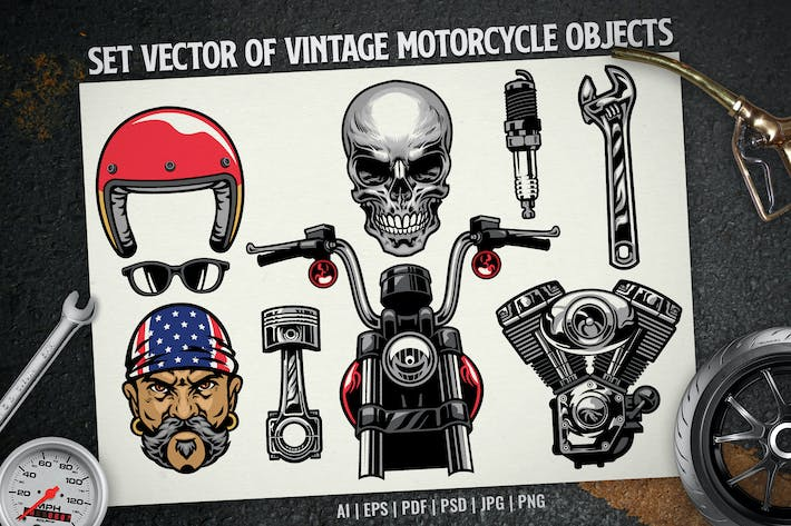 set vector of vintage motorcycle objects