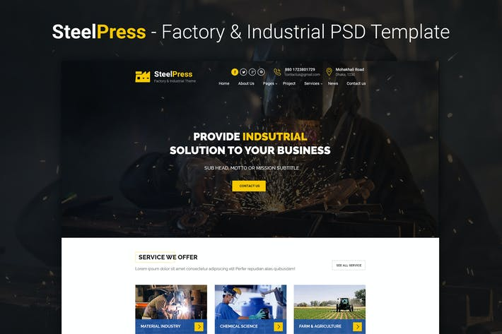 Thumbnail for SteelPress - Industrial & Factory Business PSD Tem