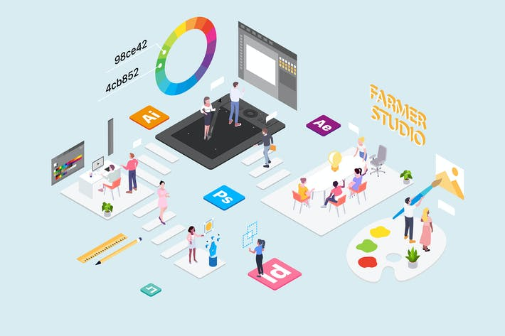 Cover Image For Creative Studio Concept Isometric Illustration