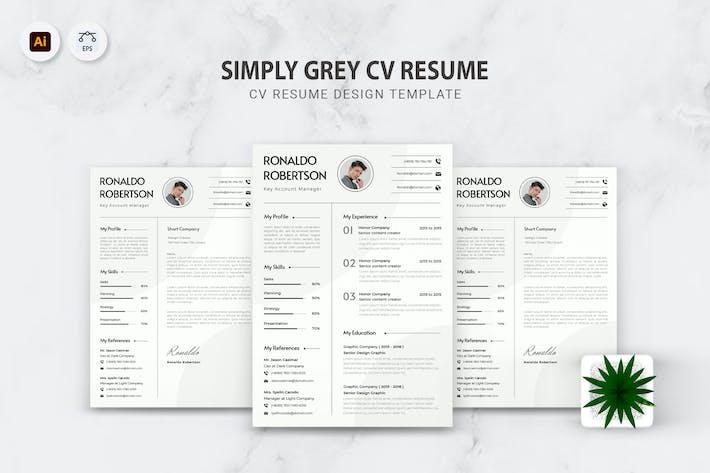 Thumbnail for Simply Grey CV Resume