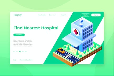 Hospital Isometric - Banner & Landing Page
