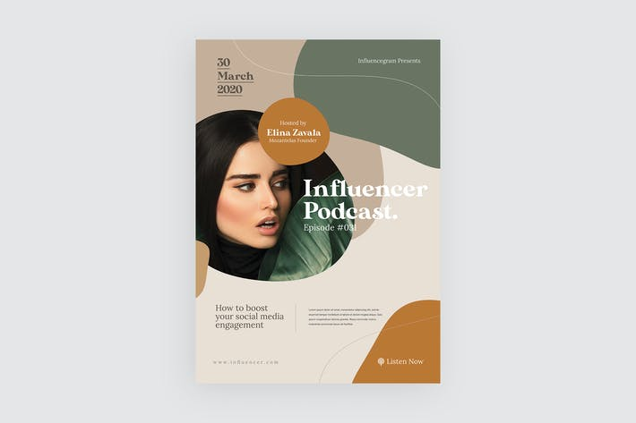 Thumbnail for Influencer Podcast - Flyer Vorlage