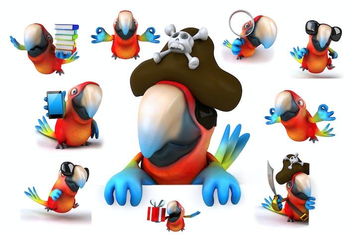 10 fun cartoon Parrots !