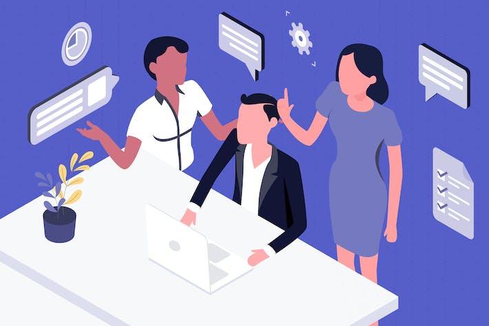 Thumbnail for Isometrische Illustration der Teamarbeit
