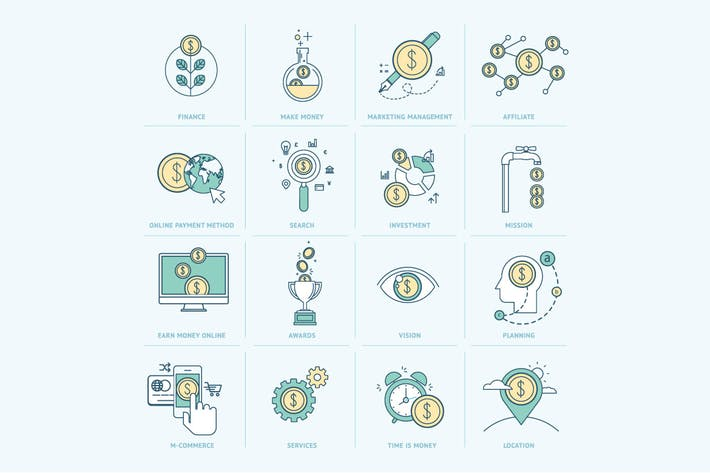 Thumbnail for Flat Line Icons for Finance