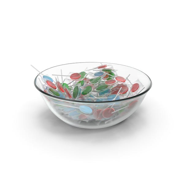Bowl With Wrapped Flat Lollipops