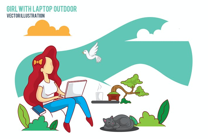 Thumbnail for Happy girl with laptop outdoor