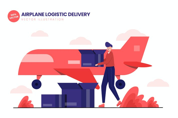 Thumbnail for Airplane Logistic Delivery Flat Illustration