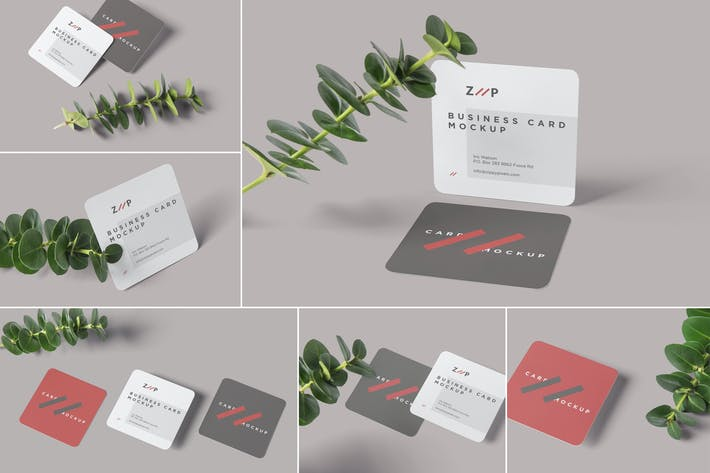 Thumbnail for Round Corner Square Business Card Mockups