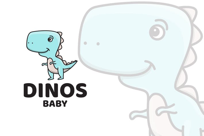Cover Image For Dinosaur Baby Cute Logo Template