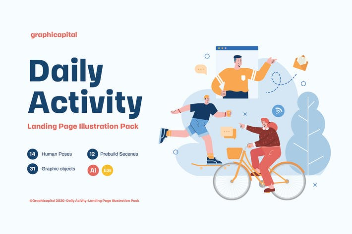 Daily Activity Landing Page Illustration