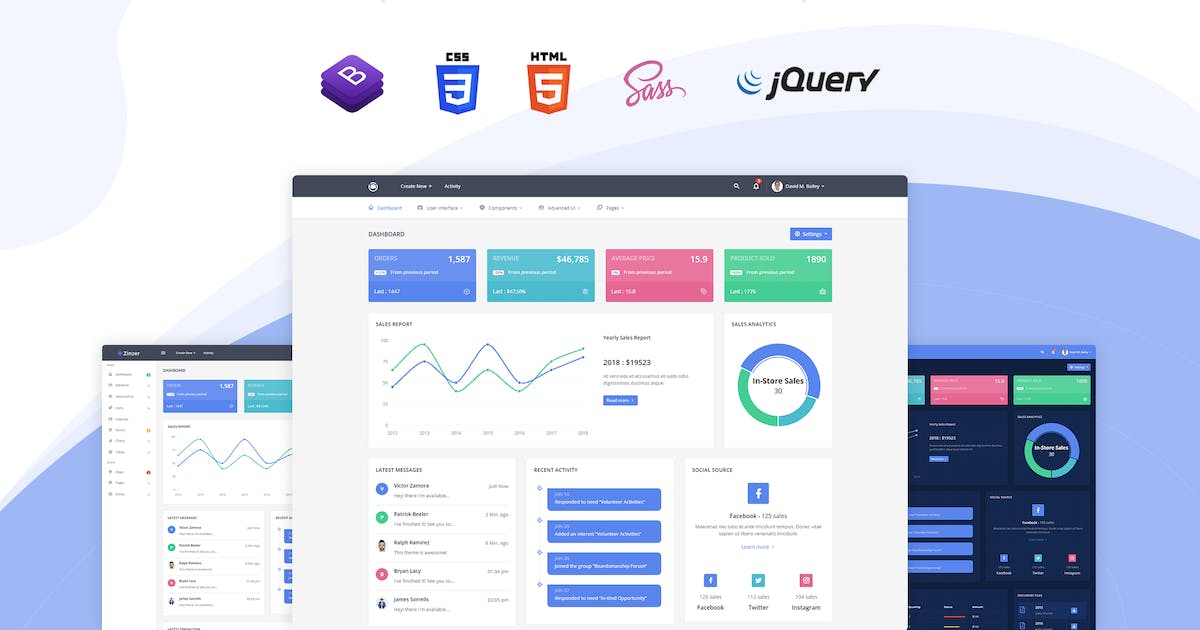 Download Zinzer - Admin Dashboard Template by themesdesign