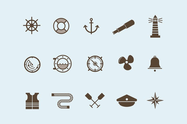 Thumbnail for 15 Nautical and Boat Icons