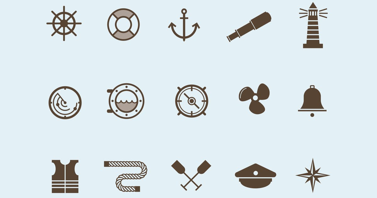 Download 15 Nautical and Boat Icons by creativevip