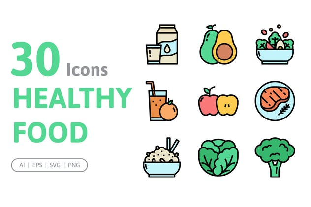 30 Healthy Food Icons