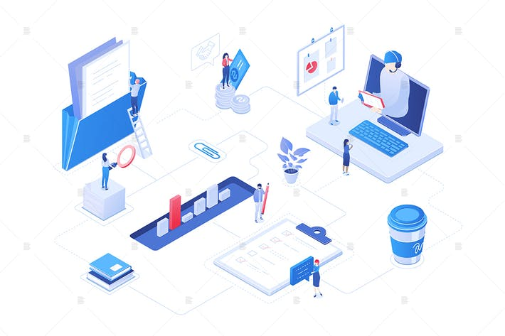 Thumbnail for Workflow management - isometric illustration