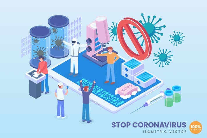 Thumbnail for Isometric Stop Coronavirus Vector Concept