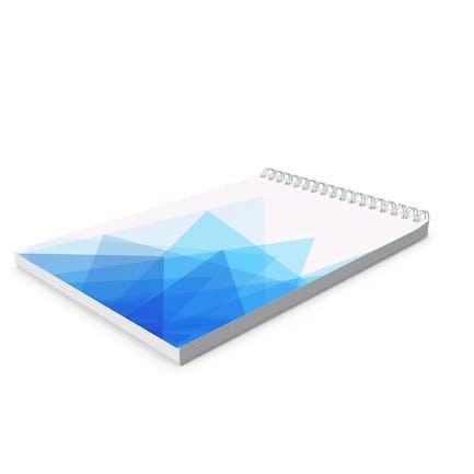 Cuaderno espiral con patrón geométrico azul