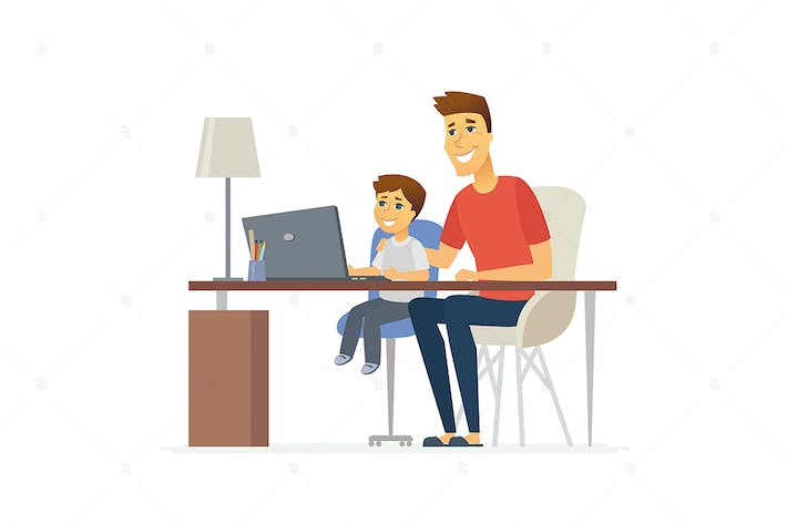 Thumbnail for Father and son at the laptop - vector illustration