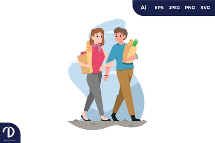Couple with Grocery Shopping Bag