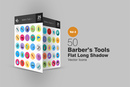 50 Barber's Tools Flat Shadowed Icons