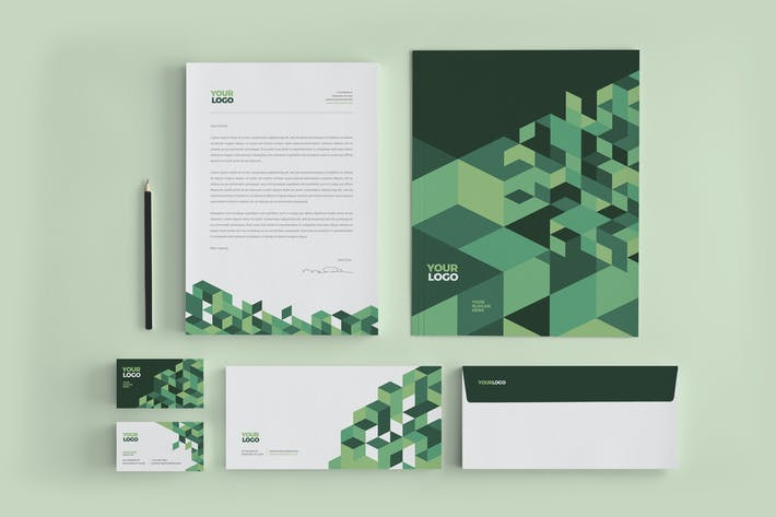 Thumbnail for Cool Green Business Stationery
