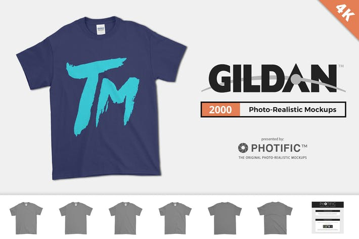 Thumbnail for Gildan 2000 T-Shirt Mockups