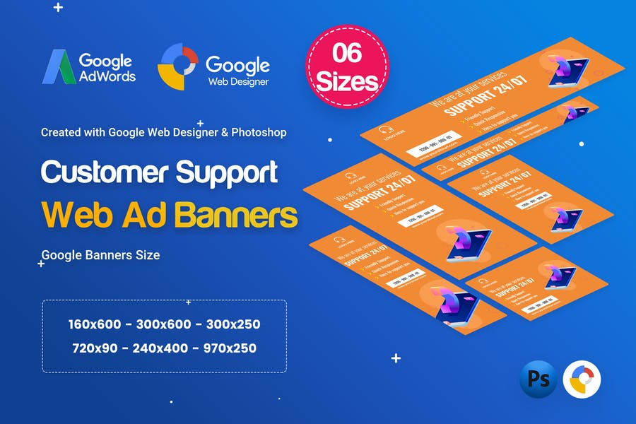 Customers Support Banners HTML5 D49 Ad - GWD & PSD