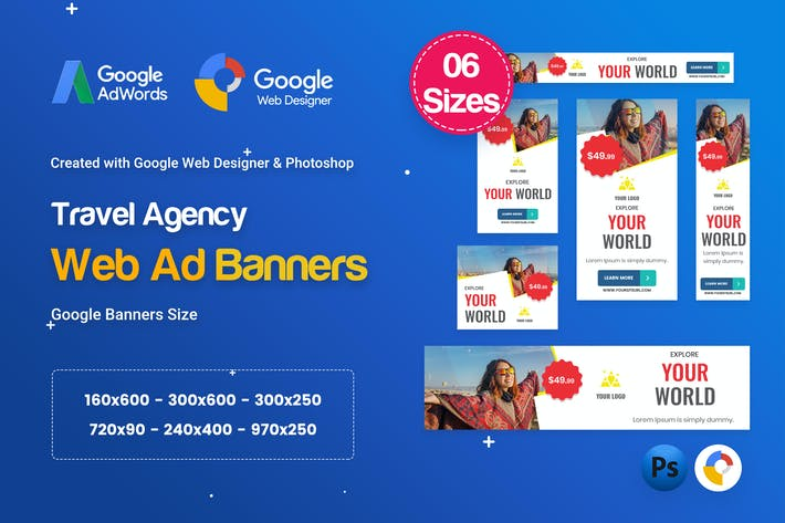 Thumbnail for Travel Agency Banners HTML5 D56 Ad - GWD & PSD