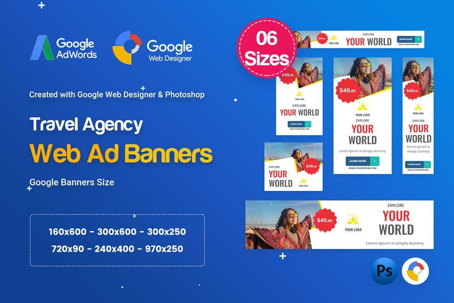 Travel Agency Banners HTML5 D56 Ad - GWD & PSD
