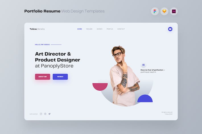 Thumbnail for Portfolio Resume Web Design UI Kit Templates