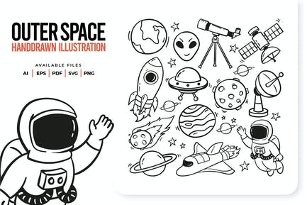 Outer Space Handdrawn Illustration