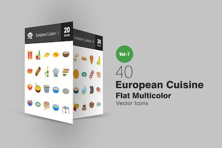40 European Cuisine Flat Multicolor Icons