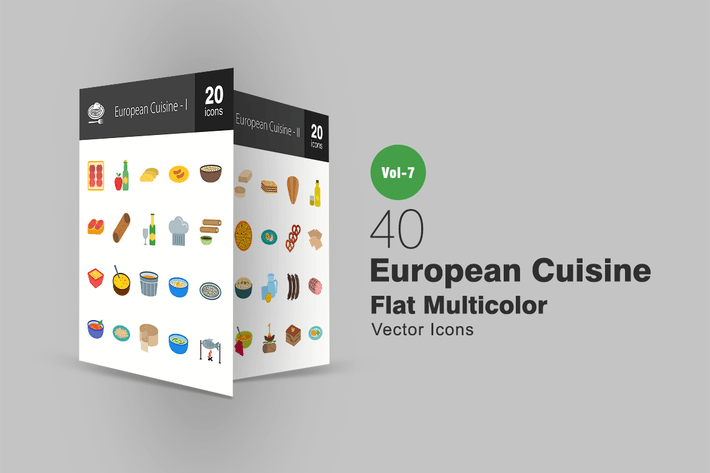Thumbnail for 40 European Cuisine Flat Multicolor Icons