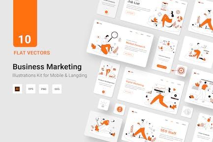 Línea plana de ilustración Vector de marketing