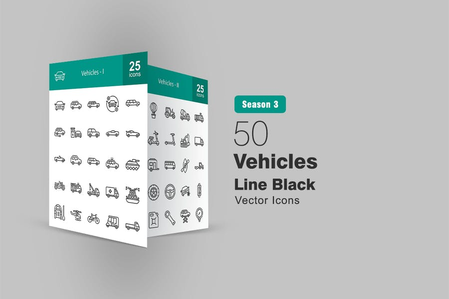 50 Fahrzeuge LinienIcons