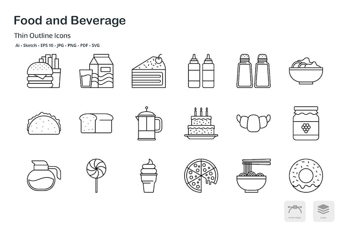Thumbnail for Food and Beverage thin outline icons