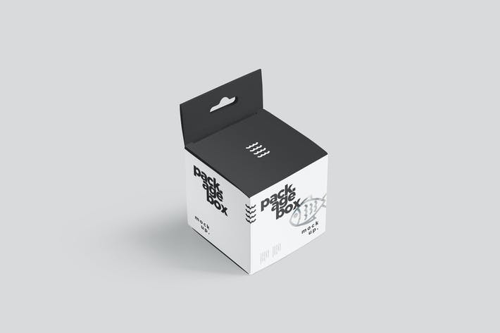 Package Box Mockup Set - Square With Hanger