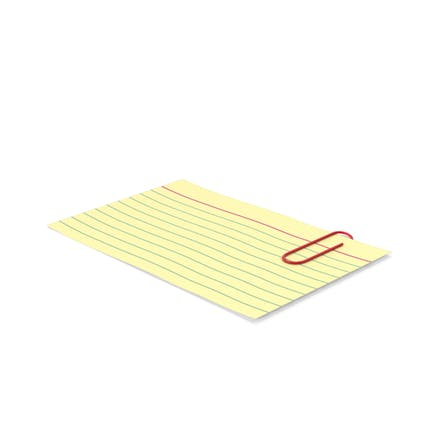 Index Card Yellow With Paper Clip