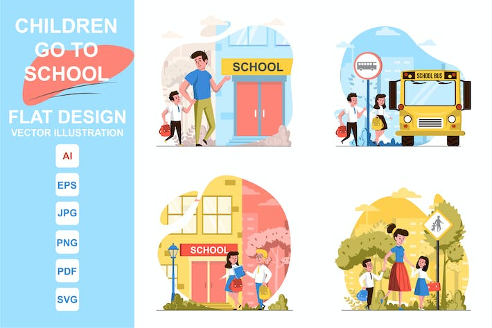 Illustrations Go To School Flat Design Concept