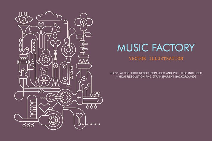 Thumbnail for Music Factory line art vector illustration