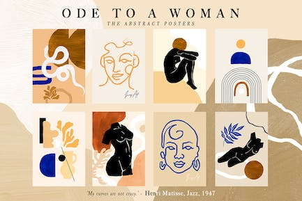 8 Abstract Feminine Ode to a Woman Print Set