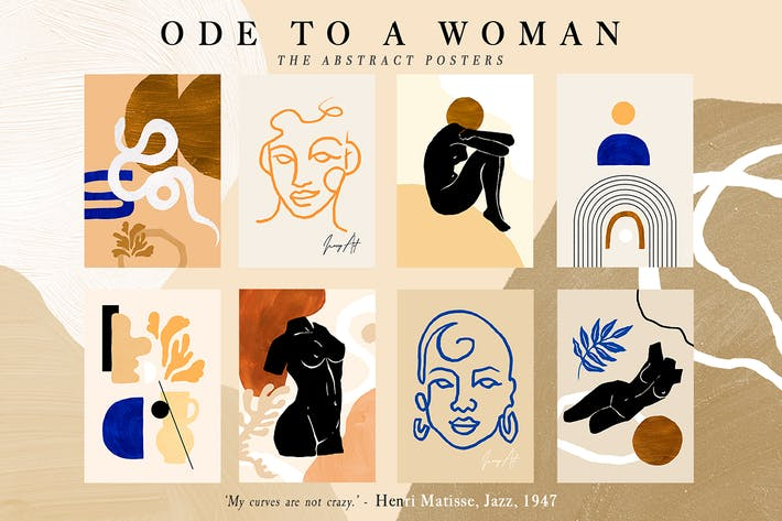 Thumbnail for 8 Abstract Feminine Ode to a Woman Print Set