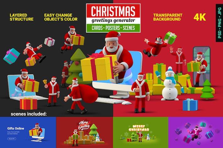 Thumbnail for Christmas greetings Generator 3D