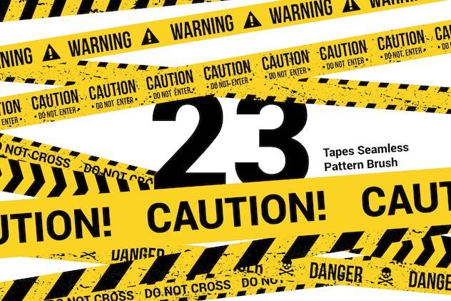 23 CAUTION TAPES Seamless Pattern Brush